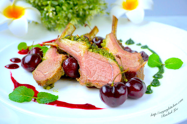 Hazelnut & Mint Pesto Crusted Lamb Chops in Cherries & Red Wine Reduction