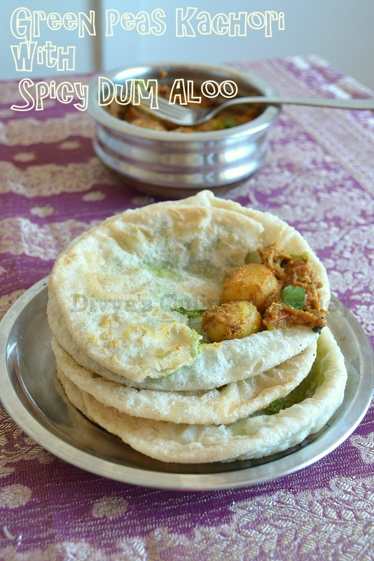 Green Peas Kachori with Spicy Dum Aloo - Bengali style
