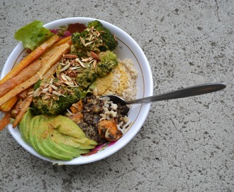 zomerkom met geroosterde wortels en wortel-gembersaus - summer bowl with roasted carrots and carrot-ginger sauce(GF-DF-SF-V)