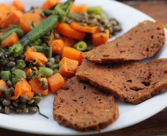 Vegan Smoky Spicy 'Pastrami' with Roasted Sweet Potatoes and Puy Lentil Salad