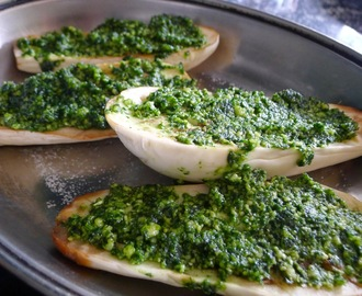 Baked aubergine with pesto and feta