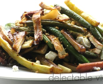 Stir-fried Yellow and Green Beans with Pan-fried Tofu and Chevre