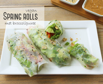 Vegan spring rolls met broccolipuree