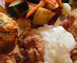 SELF SUFFICIENT SUNDAYS...COUNTRY FRIED PORK CHOPS, GRAVY, CORN BREAD AND ROASTED GARDEN VEGETABLES