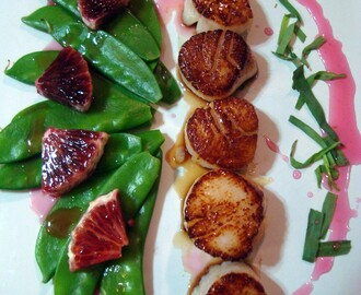 "Seared Scallops with Blood Orange Gastrique (a stream of consciousness ""recipe"")"