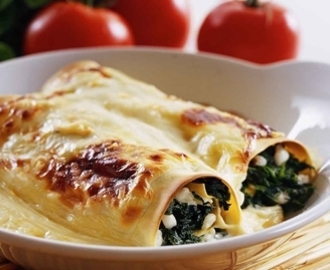 Spenatcannelloni med cottage cheese