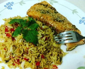 KP's Asian style Baked Salmon with Mushroom fried Rice