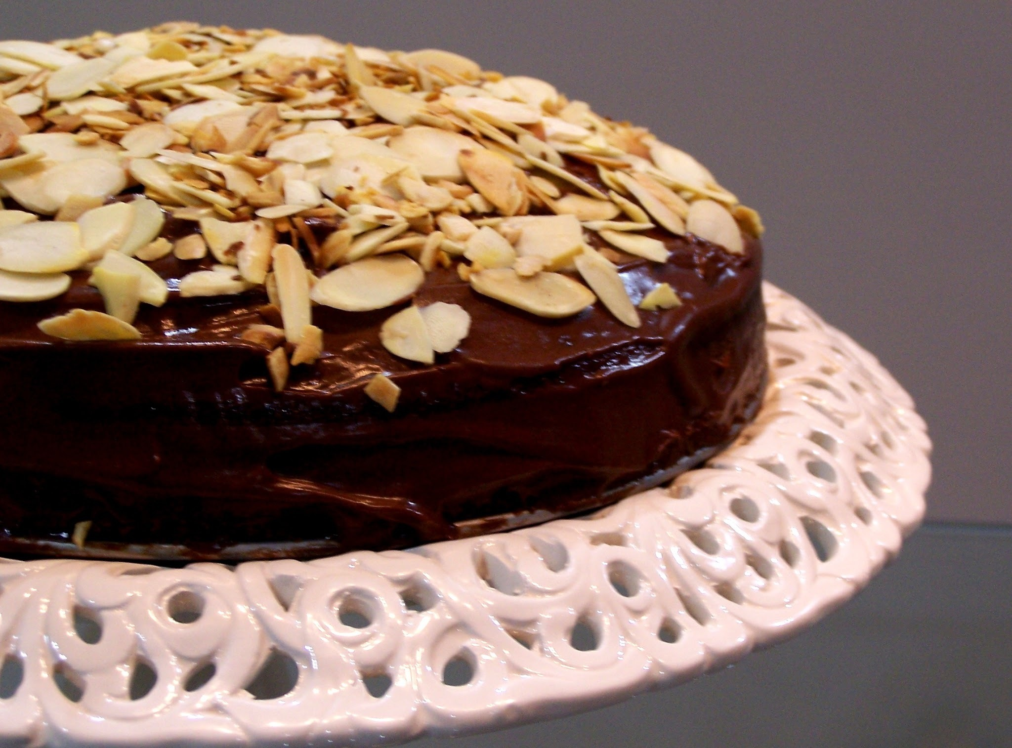 Eggless Coffee Cake  with Baileys & Chocolate frosting & Toasted Almonds