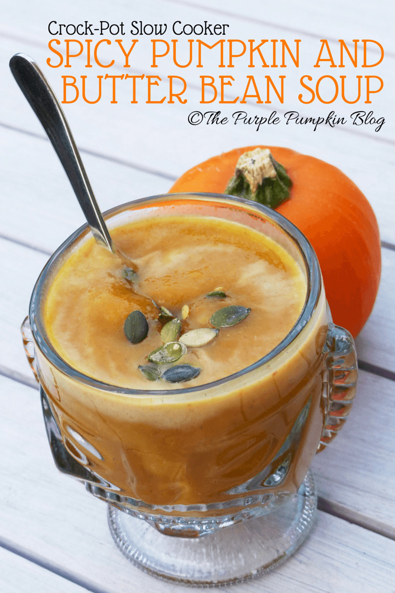 Crock-Pot Slow Cooker Spicy Pumpkin and Butter Bean Soup #CraftyOctober