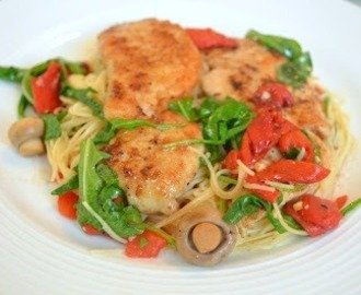 Sauteed Chicken Breasts with Roasted Peppers, Mushrooms and Arugula over Angel Hair Pasta with a Brown Butter Sauce