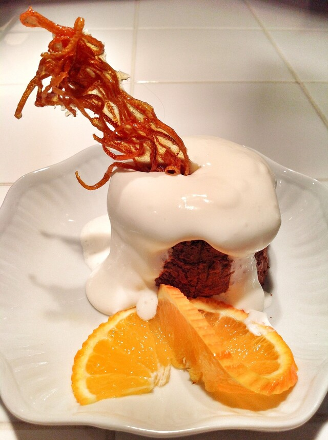 Chocolate-Tia Maria Cakes with Vanilla Foam and Orange Brittle