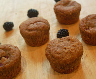 Wholemeal blackberry and banana muffins