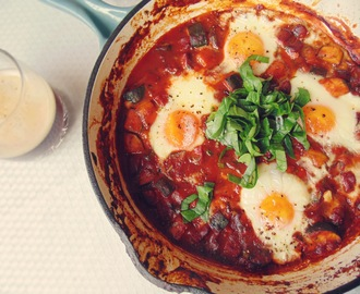 Ten Meals for Under Ten Dollars: Baked Eggs with Chorizo and Zucchini