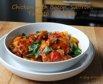 Chicken with Bacon Saffron Tomato and Potato - One Pot Meal