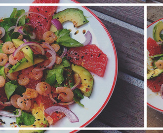 Salade met Avocado, Grapefruit & Chili Dressing