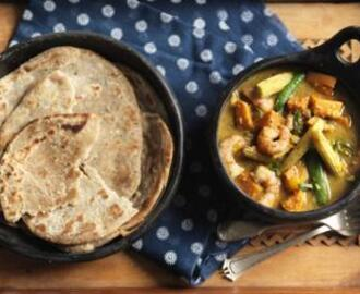 Prawn, sweet potato and lime curry with chilli and black pepper roti bread