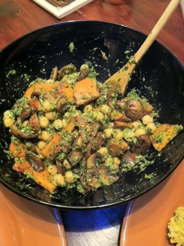 Pesto Sweet Potato Mushroom Chickpea Salad