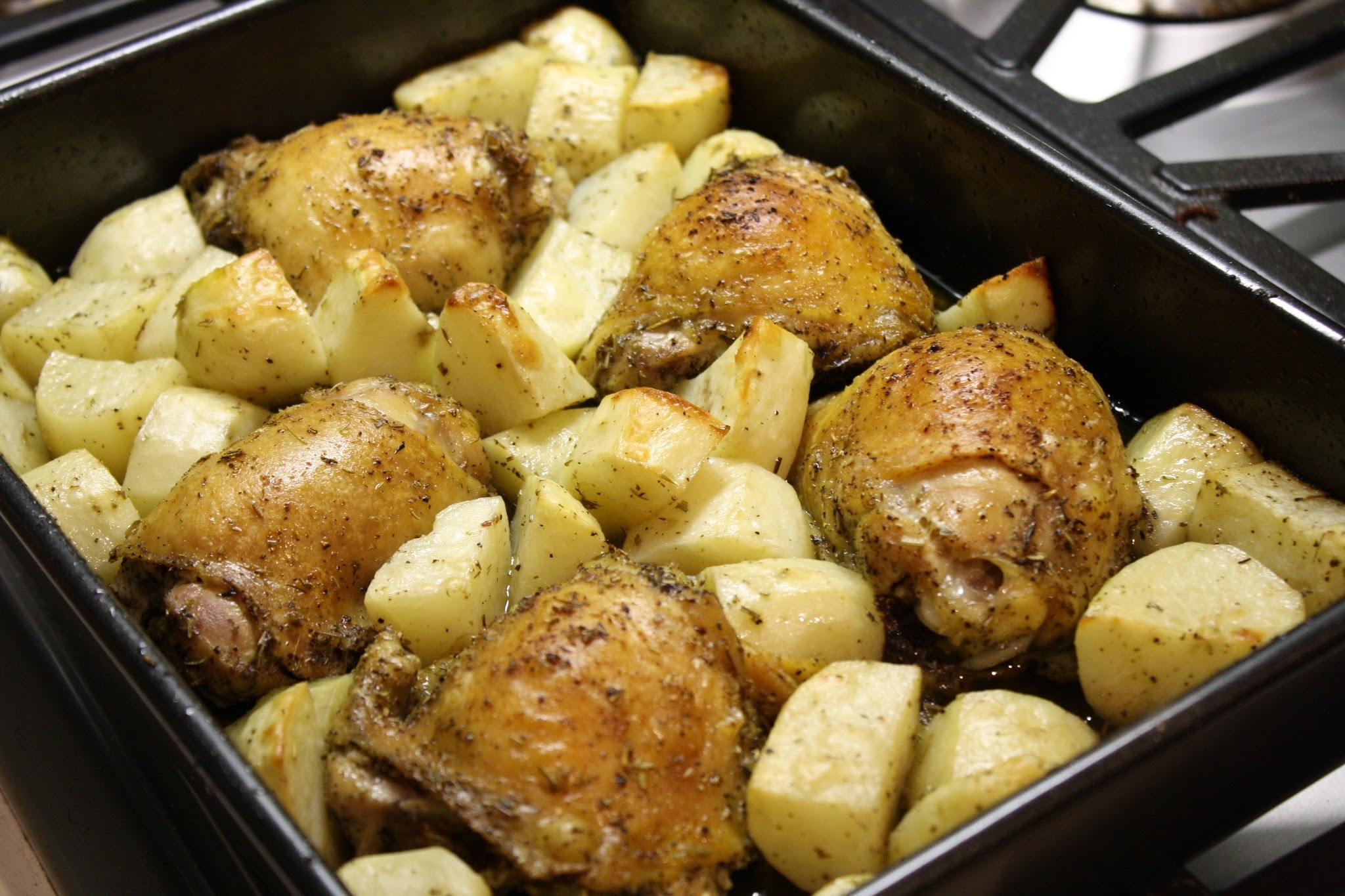 Herbs de Provence Roasted Chicken Thighs and Potatoes