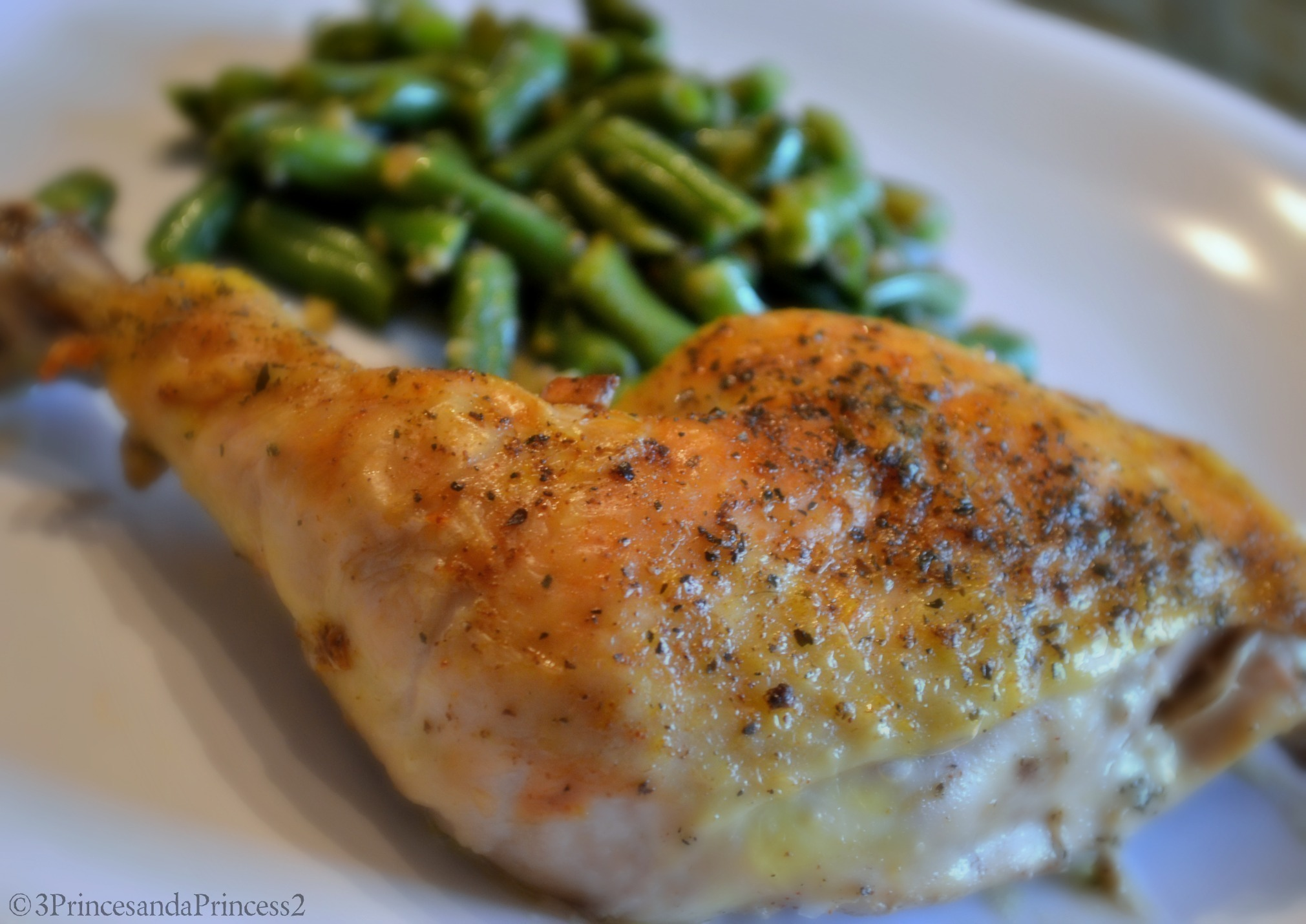 Meals On a Budget - Chicken Leg Quarters and Garlic Green Beans #Recipe