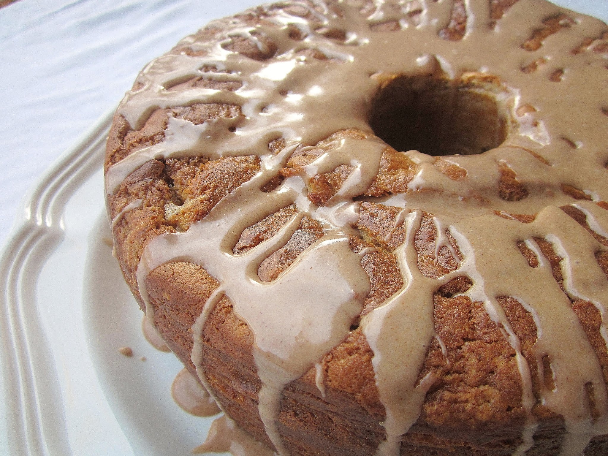 Apple Butter Cake with Vanilla Cinnamon Glaze
