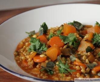 Vegetable and Barley Stew with a touch of spice