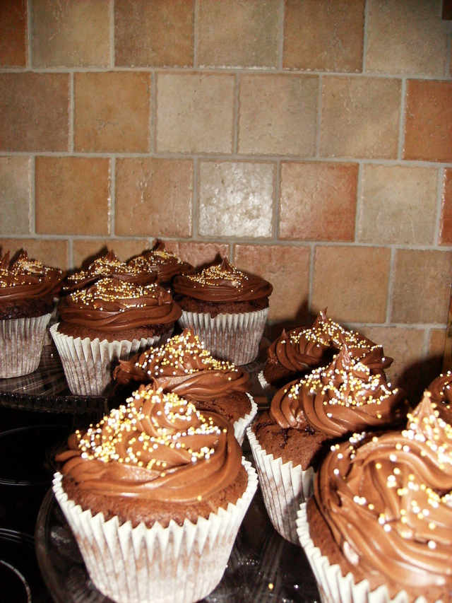 American cupcakes med chokladfrosting