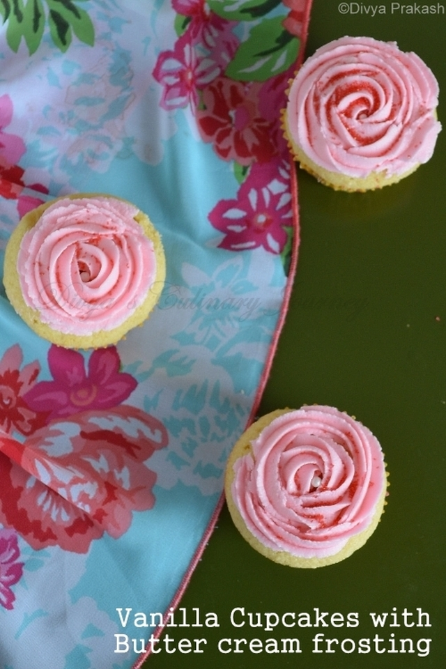 Vanilla cupcakes with Rose flavored Butter cream frosting- Women's day Special
