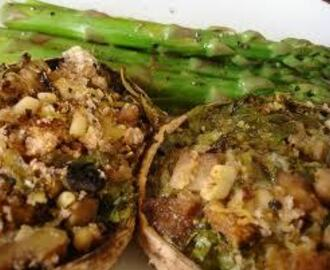 stuffed mushrooms, roasted new potatoes, brocoli and beurre blanc