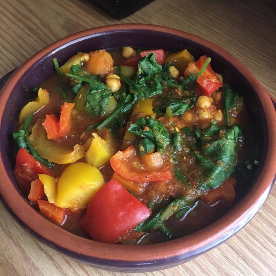 CHEEKY SLOW COOKED SPINACH AND CHICKPEA TAGINE