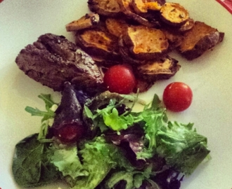 Things I have been cooking lately #73: Rosemary lamb, sweet potatoes and Greek salad