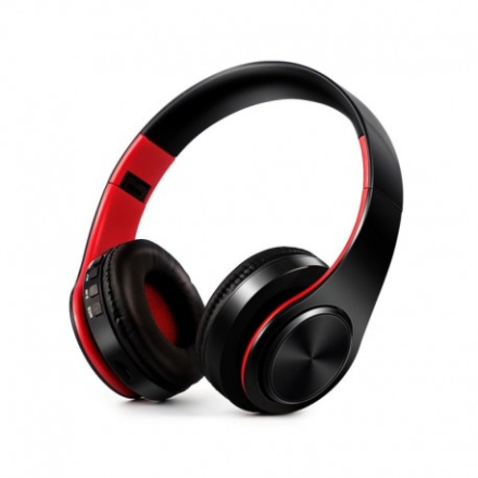 Foldable HIFI Stereo Portable Comfortable Bluetooth Wireless Stereo Headset - Black / Red