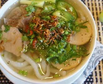 Vietnamese Udon noodle soup (Banh Canh Gio Heo)