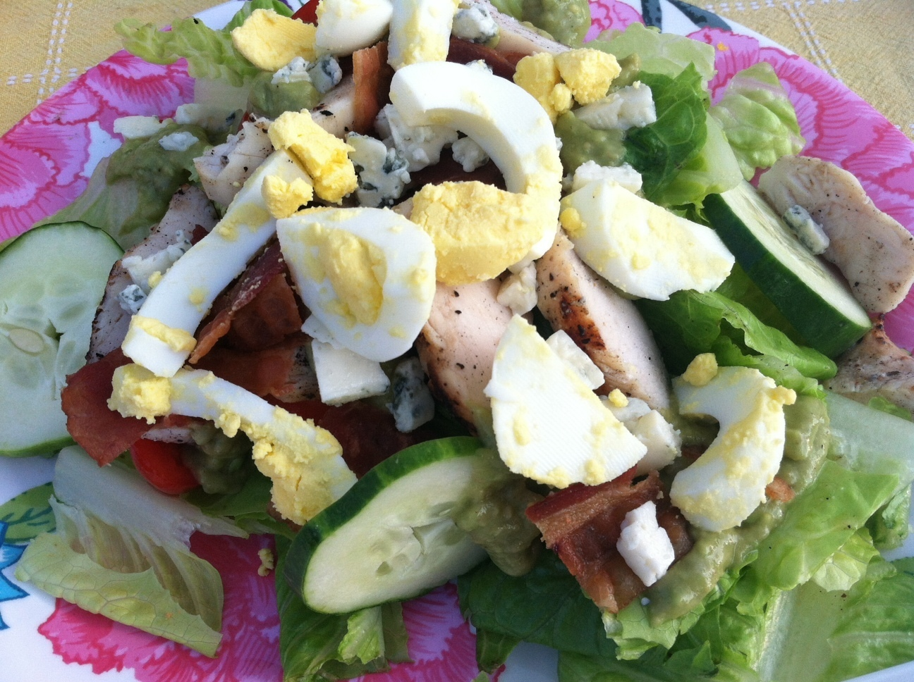 Grilled Chicken Cobb Salad with Avocado Dressing