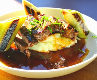 Fyne Ales Recipe: Rump Steak with IPA and Blackcurrant Jus served with Charred Braised Leeks