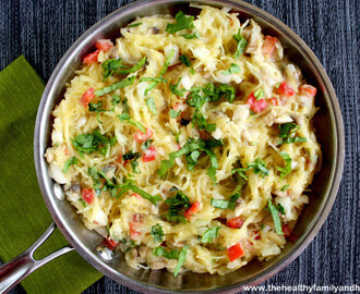 Spaghetti Squash with Basil and Creamy Cauliflower Alfredo Sauce