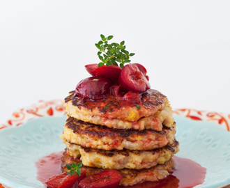 Millet Fritters with Spiced Red Wine Plum Sauce