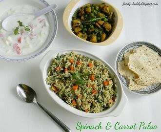 Spinach Carrot Pulao | Palak Pulav | No Onion No Garlic Recipe