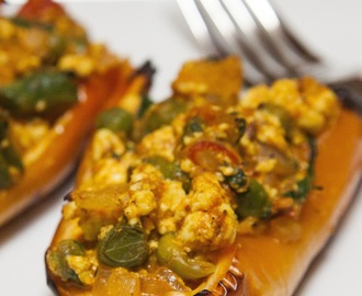 Not Your Mama's  Payday Stuffed Peppers. Indian Peppers With Paneer Cheese.