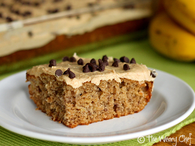 Banana Cake with Peanut Butter Frosting: A favorite sandwich turned dessert!