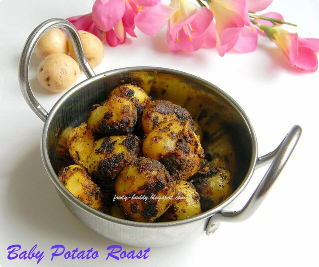 Baby Potato Roast / Urulaikilangu Varuval - Side Dish for Sambar Rice