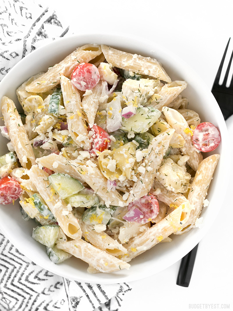 Creamy Lemon Dill Greek Pasta Salad