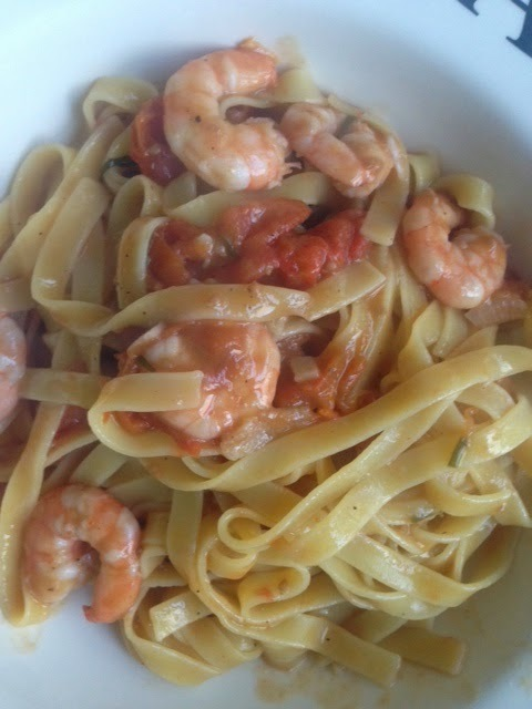 King prawn tagliatelle with anchoviies, chili, garlic and wine