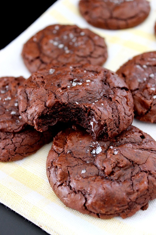 Brownie cookies med flingsalt