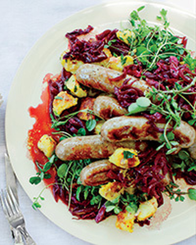 Bratwurst with Mustardy Fried Potatoes and Braised Cabbage