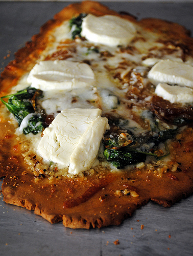 Gluten-Free Pizza Bianca with Caramelized Onions, Goat Cheese, and Spinach
