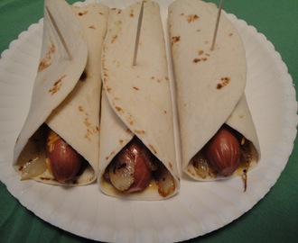 Pigs in Ponchos (tortilla wrap franks)