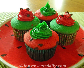 Pretty Skinny Watermelon Cupcakes