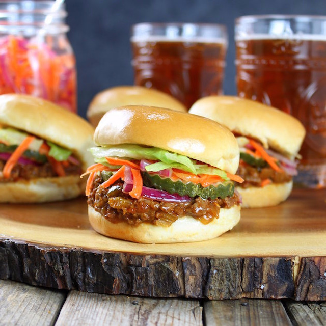 Asian Sloppy Joes with Pickled Carrots and Onions