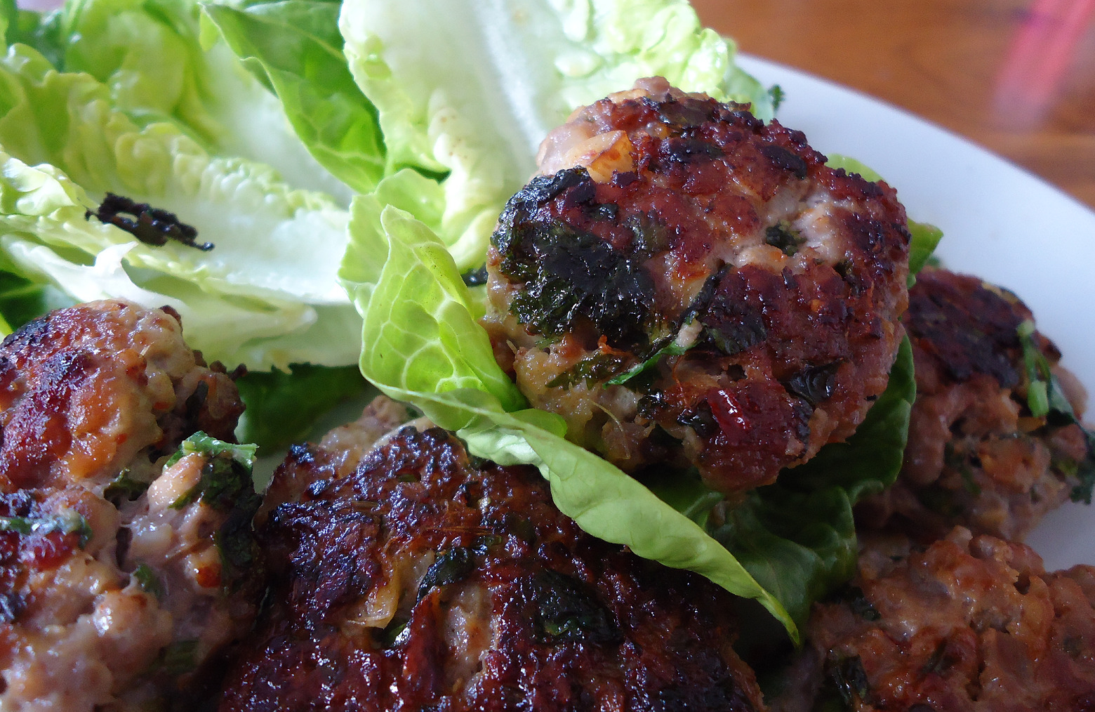 Thai pork burgers with a spicy dipping sauce