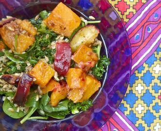roasted butternut squash & plum salad